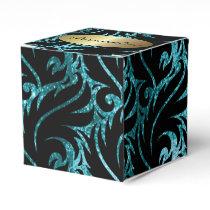 Teal Glitter and Black Designed Favor Box