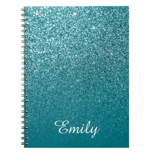 Teal Glitter and Ombre Personalized Notebook