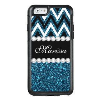 Teal Glitter B&W Chevron Otterbox iPhone 6/6s Case