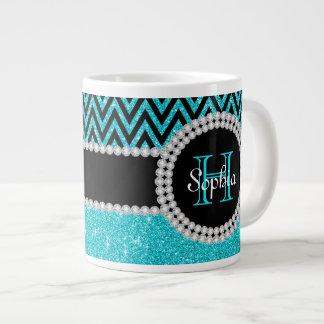 Teal Glitter Black Chevron Monogrammed Jumbo Mug