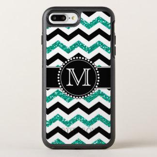 Teal Glitter, Black Chevron, Tough, Monogrammed OtterBox Symmetry iPhone 7 Plus Case
