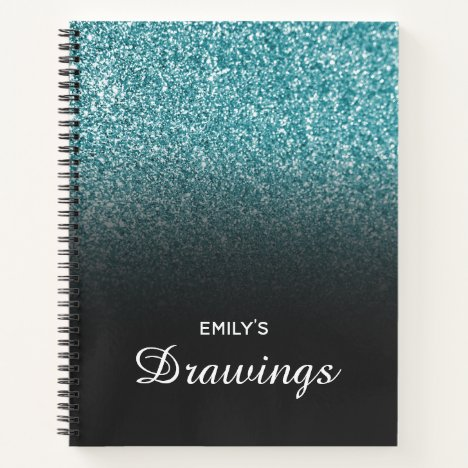 Teal Glitter Black Ombre Personalized Drawing Notebook