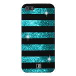 Teal Glitter & Black Stripes | DIY Monogram iPhone 5 Case