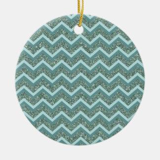 Teal Glitter Ceramic Ornament
