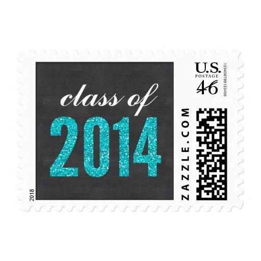 Teal Glitter Chalkboard Class of 2014 Graduation Stamp