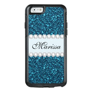 Teal Glitter Custom Otterbox Iphone 6/6s Case by girlygirlgraphics at Zazzle