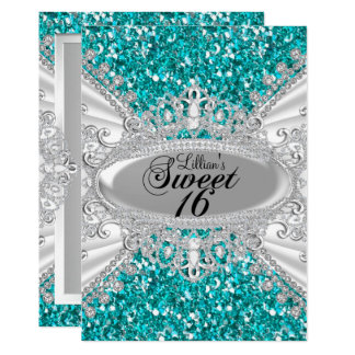 Teal Glitter & Diamond Tiara Sweet 16 Invite
