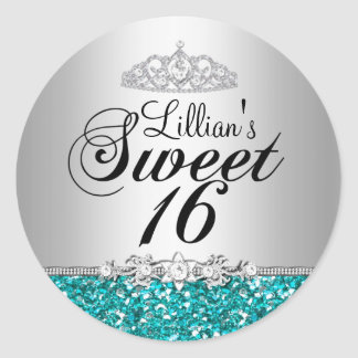 Teal Glitter & Diamond Tiara Sweet 16 Sticker