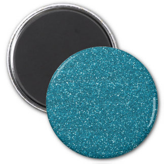 Teal Glitter Effect 2 Inch Round Magnet
