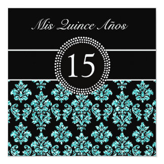 TEAL GLITTER EFFECT BLACK DAMASK QUINCEANERA CARD