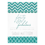 Teal Glitter Forty and Fabulous Birthday Invite