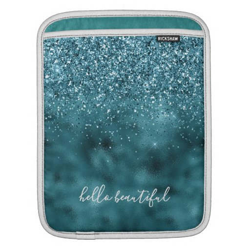 Teal Glitter Glitz sparkle glam personalized quote iPad Sleeve
