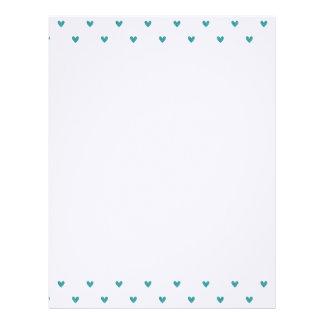 Teal Glitter Hearts Pattern Personalized Letterhead