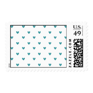Teal Glitter Hearts Pattern Postage Stamps