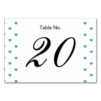 Teal Glitter Hearts Pattern Table Cards