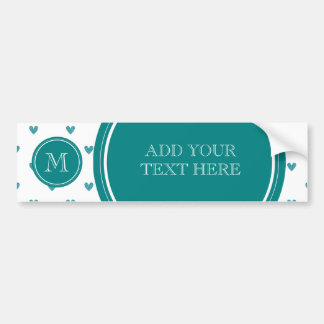 Teal Glitter Hearts with Monogram Bumper Sticker