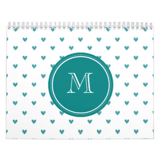Teal Glitter Hearts with Monogram Wall Calendars