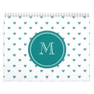Teal Glitter Hearts with Monogram Calendar