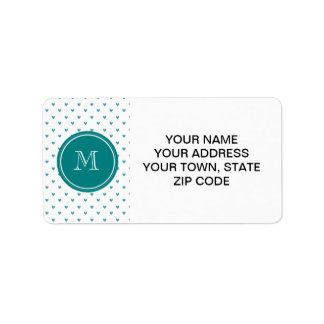 Teal Glitter Hearts with Monogram Label
