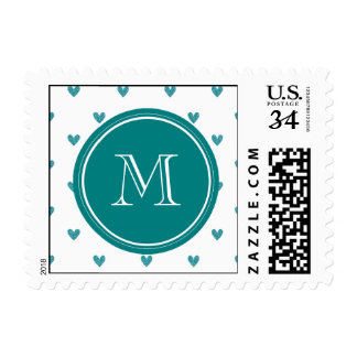 Teal Glitter Hearts with Monogram Stamps