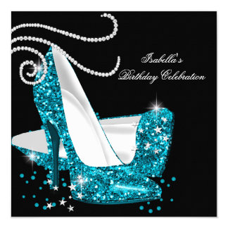 Teal Glitter High Heels Black Birthday Party 5.25x5.25 Square Paper Invitation Card
