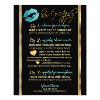 Teal Glitter Lip Instructions Flyer