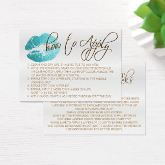 Teal Glitter Lips 2 - How to Apply - Satin Business Card