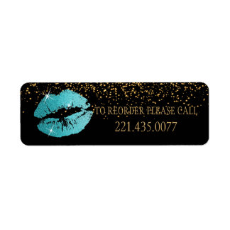 Teal Glitter Lips - Reorder Label