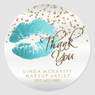 Teal Glitter Lipstick on White - Thank You Classic Round Sticker