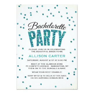 Teal Glitter Look Confetti Bachelorette Party Card
