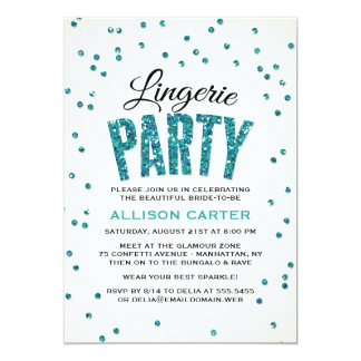 Teal Glitter Look Confetti Lingerie Party Card