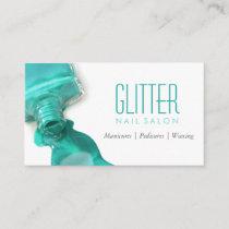 Teal Glitter Nail Salon Manicure - Stylish Beauty Business Card