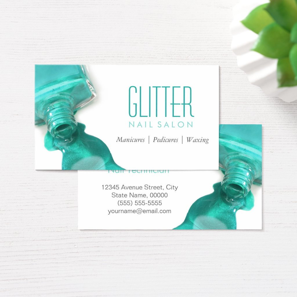 Teal Glitter Nail Salon Manicure - Stylish Beauty Business Card