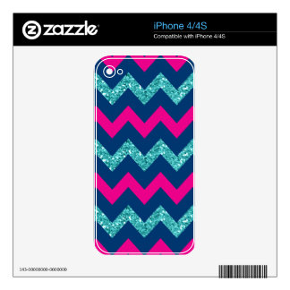Teal Glitter Nautical Chevron Decals For iPhone 4S