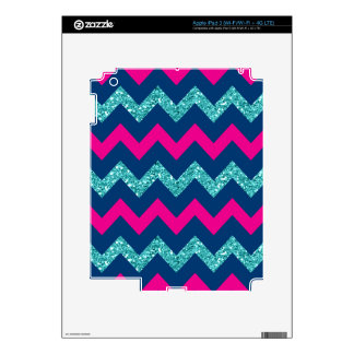 Teal Glitter Nautical Chevron iPad 3 Decals