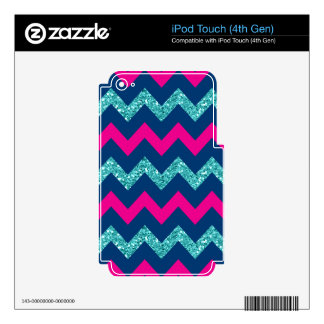 Teal Glitter Nautical Chevron Skins For iPod Touch 4G