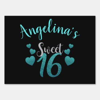 Teal Glitter Personalized Sweet 16 Birthday Party Sign