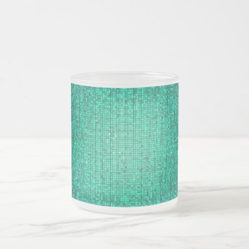 Teal Glitter Sequin Frosted Glass Coffee Mug Cup