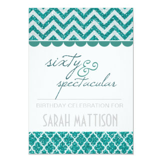 Teal Glitter Sixty and Spectacular Birthday Invite