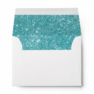 Teal Glitter Sparkles Envelope