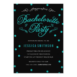 Teal Glitz & Glitter Bachelorette Party Invitation