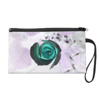 teal glowing rose neat flower image design wristlet clutches