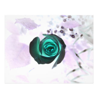 teal glowing rose neat flower image design full color flyer