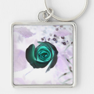 teal glowing rose neat flower image design keychain
