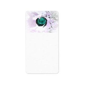 teal glowing rose neat flower image design address label