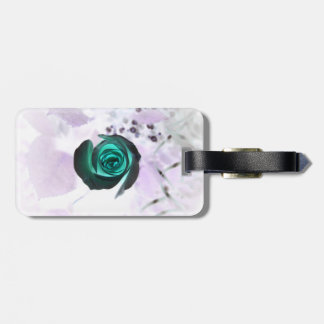 teal glowing rose neat flower image design luggage tags