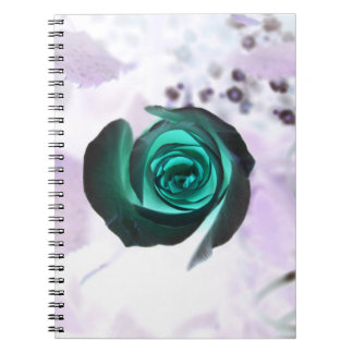 teal glowing rose neat flower image design notebook