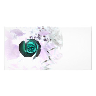 teal glowing rose neat flower image design photo greeting card