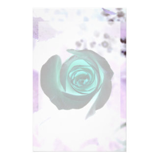 teal glowing rose neat flower image design stationery