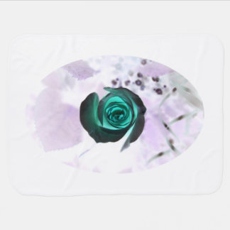 teal glowing rose neat flower image design baby blanket